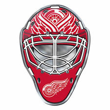 "NHL Officially Licensed Detriot Red Wings Mask Premium Aluminum Emblem 3""x4"""