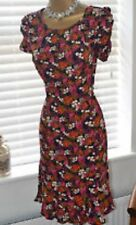 Topshop Orange Berry Floral Print 20s 40s WW2 Vtg Celeb Shift Tea Dress 12 8 40