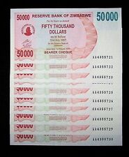 10 x Zimbabwe 50,000 dollar bearer cheque banknotes-aUNC currency