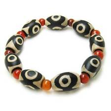 Tibetan Red Agate 10 3-Eye dZi Beads Beaded Bracelet -Powerful Energy!
