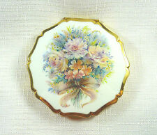 Collectable, Stratton Gold Tone, White Enamel, Flower Mirror Powder Compact