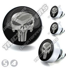 "4 Silver Billet ""Punisher Skull"" License Bolts Motorcycle Custom Tag Screws"