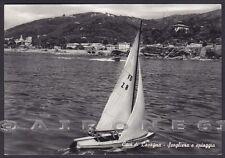 GENOVA LAVAGNA 76 CAVI - SPIAGGIA - BARCA A VELA Cartolina FOTOGRAF. viagg. 1960