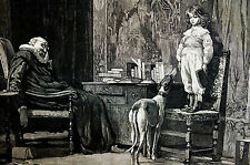 C.T. Garland NAUGHTY BOY Time Out Watched by HOUND 1881 Antique Art Print Matted