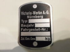 Typenschild victoria ID-plate schild Vicky Moped Mofa Leichtkraftrad s4