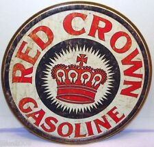 "RED CROWN GASOLINE, ROUND 12"" METAL WALL SIGN/ PETROL, GAS, DINER/GARAGE/DEN"