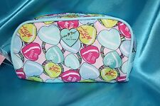 Betsey Johnson Cosmetic Pencil Case Make Up Bag Organizer Color Hearts  NWT