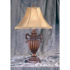 """Brown Carved Urn Style Tassel Table Lamps Lamp with Beaded Shade 30"""" BR6437"""