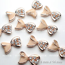 10 PCS Nail Art Champagne Gold Bow Rhinestone Charms Decorations Jewelry #SJ252