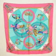 "Authentic  HERMES Scarf ""CIRCUS"" 100% Silk Pink 90cm #S4841 E"