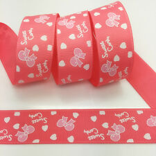 100 Yards 1Inch 25mm Wide Printed Grosgrain Ribbon Hair Bow DIY Sewing #A139