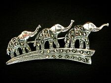 925 sterling Silver marcasite 3 Elephants family Parade brooch pin Vintage style