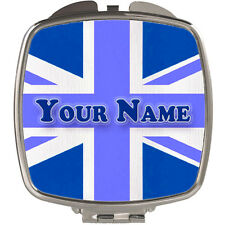 BLUE UNION JACK PERSONALISED LADIES / GIRL'S COMPACT HANDBAG MIRROR - NAMED GIFT
