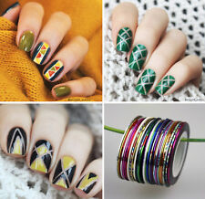 30Rolls Nail Striping Tape Line Nail Stickers DIY Kit Nail Art UV Gel Tips Decor