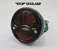 "BLACK ""STOP"" Model A DUOLAMP Tail Light Chopper Bobber Cafe Racer Motorcycle HD"