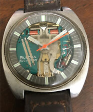 VINTAGE 1970 BULOVA ACCUTRON SPACE VIEW WRISTWATCH SPARES OR REPAIR TUNING FORK