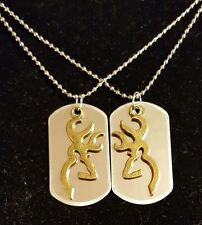 His Doe Her Buck Deer Love Dog Tag Necklace 2 PC Set NEW! Browning Country