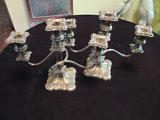 ANTIQUE PAIR OF SILVER PLATE 3 ARM CANDELABRA CANDLESTICKS - INTERNATIONAL