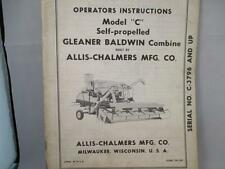 "Allis Chalmers Operators Instructions Model ""C"" Self-Propelled Form TM-330"