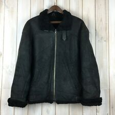 Vintage Black Shearling Sheepskin Leather Flying Flight Bomber Jacket M / L