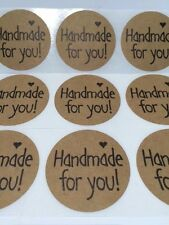 "50 Thank You 2"" Sticker Natural Kraft Paper Seals Handmade for you"