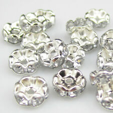 NEW 20pcs 8MM Plated silver crystal spacer beads Findings B&51 FREE SHIPPING
