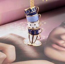 Authentic 12K Gold Plated Tea Time Stacked Pendant Necklace