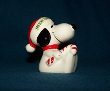 Santa Snoopy Candy Cane Merry Christmas 1979 Ornament ceramic Peanuts Determined