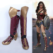 Superhero Batman v Superman Wonder Woman Diana Prince Long Boots Cosplay Shoes
