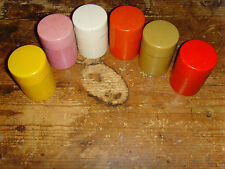 """Lot of 6 metal kitchen canisters containers MINI size retro vintage storage 3"""""""