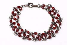 ELEGANT LADIES GUN METAL/BLOOD RED GOTHIC INSPIRED BEADED BRACELET(ZX13)