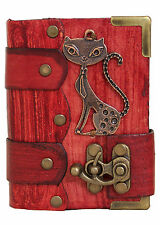 Cat Pendant on a Red Leather Journal / Diary / Sketchbook / Leatherbound / Lock