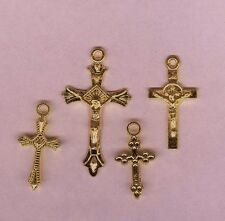 4 Different Gold Color Religious Rosary Cross Pendant / Charms Jewelry Finding