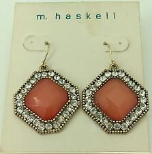 m.Haskell Gold Tone Coral Crystal Square Drop Earrings