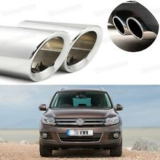 2Pcs Car Exhaust Muffler Tip Tail Pipe Trim Silver for VW Tiguan 2008-2016 #1030