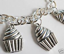 CUPCAKE HEAVEN SILVER TONE HANDMADE BRACELET CHOICE OF LENGTH 19- 21CM