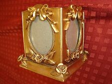 """VTG 5"""" BOX PLANTER Four Photo PICTURE FRAME CAMEO ROSES GOLD fits 3"""" x 4"""""""