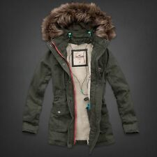 Hollister Arrow Point Sherpa Lined Parka Jacket Coat by Abercrombie SMALL