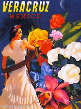 Veracruz Mexico Senorita Mexican Vintage Latin Travel Advertisement Poster