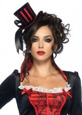 Steampunk Mini Black and Red Striped Satin Top Hat with Ribbon fnt