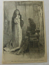 1886 magazine engraving ~ Woman lets down hair ~ A Match-Making Scheme