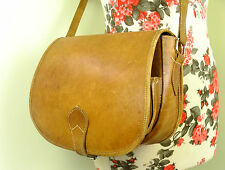 Vintage Tan Brown Leather Cartridge Hunting Game Saddle/Satchel Shoulder Bag