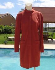 OSCAR DE LA RENTA TERRACOTTA WOOL CASUAL LONG SLEEVE DRESS Sz 8 MADE IN USA