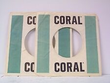 2-CORAL  RECORD COMPANY 45's SLEEVES  LOT # A-377