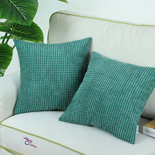 """SET OF 2 Cushion Covers Pillows Shell Super Solid Teal Corduroy Corn Home18""""X18"""""""