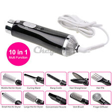 10 in 1 Hair dryer Hot Air Styler Concentrator Nozzle Curling Hair Styling Black