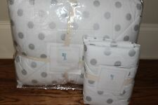 NWT Pottery Barn Kids Silver Dot twin quilt & euro sham polka dot