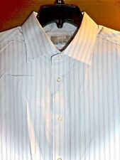 "MARKS & SPENCER - BLUE STRIPE ""EASY IRON"" FRENCH-CUFF DRESS SHIRT - MENS 17"