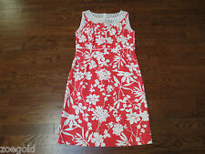 TAHARI 100% COTTON FLORAL PRINT EMPIRE SLEEVELESS LINED DRESS 8 NEW