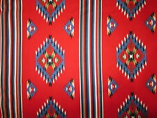 Navajo Stripes Diamond Blue Black Red Cotton Fabric FQ